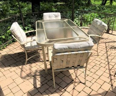 Patio Furniture Set - Table, 4 Chairs, Glider & Chaise
