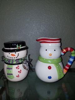 Christmas Pitcher and Snowman Canister