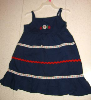 NEW Navy Sundress w/Embroidered Flowers & Trim Faded Glory Red White & Blue $6 Sz4