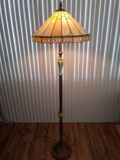 Floor Lamp with Leaded Glass Shade