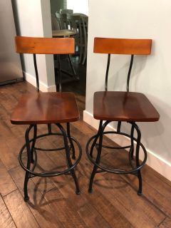 Industrial Metal & Wood Bar Stools