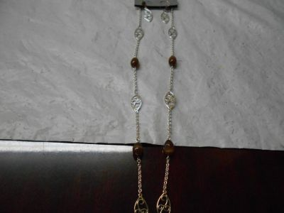 Silver & Brown Necklace & Earrings Set