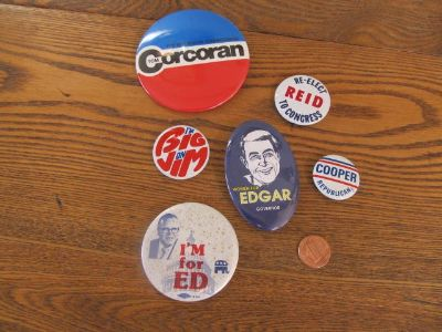 Reduced Again~Illinois State Political Pins~Vintage