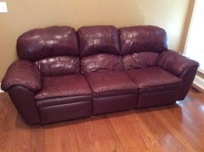 Leather sofa, loveseat and recliner