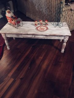 White Distressed Coffee Table W/ drawer