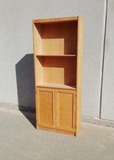 6 1/2 Foot Unfinished Wood Bookshelf w/ Lower Cabinet