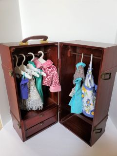 WOODEN DOLL CLOTHES ARMOIR CABINET