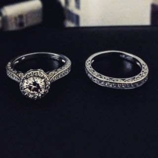 Size 10 women's wedding set Sterling silver and cubic zarconia