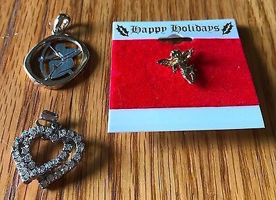 Lot of 2 Pendants Double Heart Archer with Bow and an Angel Tac Pin