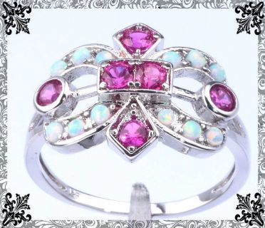 New - White Fire Opal and Pink Kunzite Ring - Size 7