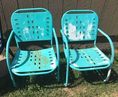 2 Vintage Metal Project Chairs
