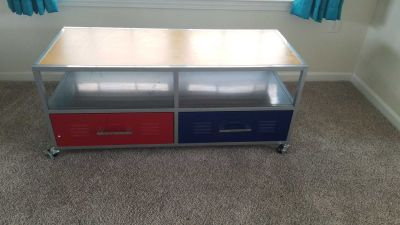 Locker Room style TV stand with two metal drawers. Red Blue Gray
