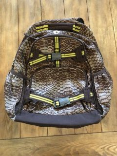 Yellow and brown backpack