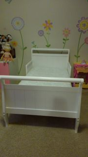 Delta white sleigh toddler bed and sealy mattress