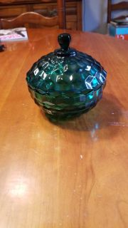 Green antique candy dish