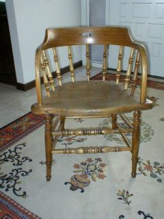 Antique Saloon Chair - Rustic Oak Wood