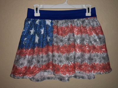 Justice American Stars and Stripe All Sequins Skirt With Attached Shorts. Nice Condition. Size 14