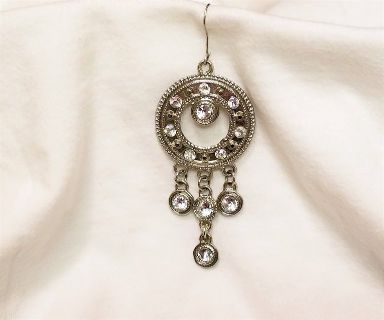 Antiqued Silver Tone Gem Stone Iridescent Boho Earrings Hoop Drop Dangle Hook