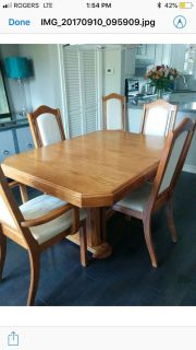 Dining room table and chairs x6
