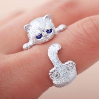 Hot Cute Fluffy Grumpy Cat Wrap Ring