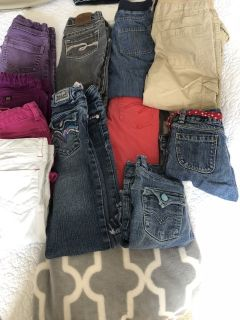 Girls jeans size 6 and two denim shorts slim