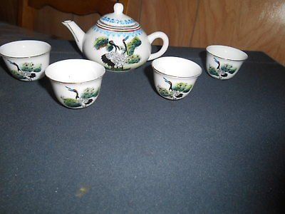 Small Pretty Porcelain Lidded Tea Pot and 4 Cups Set! Hand Painted Bird and Foliage on c...