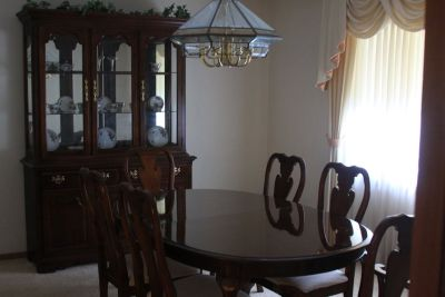Solid Cherry Wood Two-Piece China Cabinet and Dining Table with Chairs