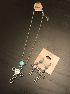 Turquoise cross necklace and earrings set