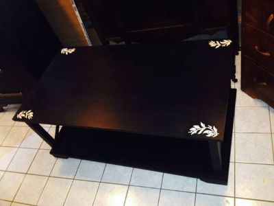 Funky black coffee table with decals