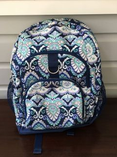 """Girls Pottery Barn Teen Backpack (Blue Paisley with """"N"""" Initial)"""