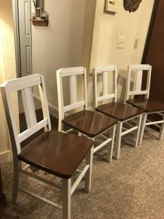 Set of four solid wood chairs