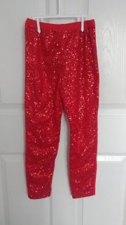 Red sequin front pants