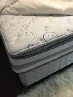 Serta Perfect Sleeper Southport PillowTop Queen mattress and box string and bed frame
