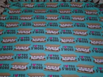 S'Mores I Love You Hand Tied Double Sided Fleece Rag Blanket ~ New