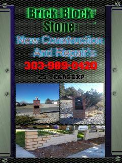 Brick Block and Stone new constrution and repairs