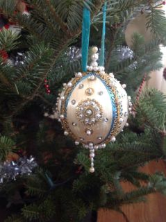Vintage Large White Beaded Christmas Ornament, Handmade, Blue, Gold Dresden Foil