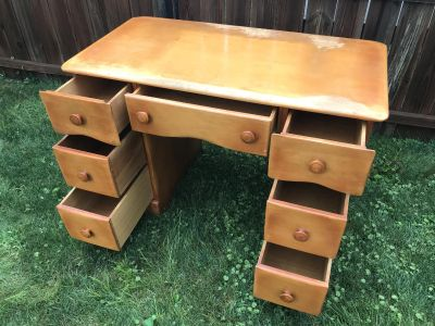 Wood Desk with Red-Blonde Finish