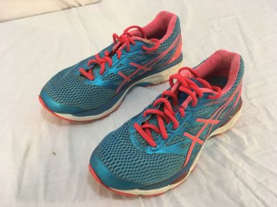 Womens ASICS Gel Cumulus 18 Pink Blue Lace Up Athletic Running 6.5 6 1/2 Shoes 01640