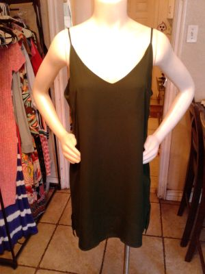 Olive green sheer dress Large