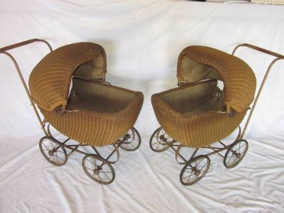 2 Matching Wicker Doll Baby Carriage Buggy Stroller Pram Canopy ANTIQU