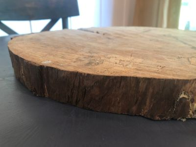 Raw edge wood centerpiece