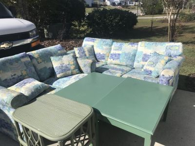 Sleeper sofa and love seat with 3 tables