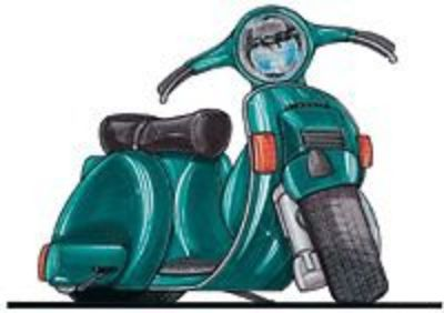 Purchase Vespa Scooter Green cartoon t-shirt piaggio vb vlb super 150 125 gt lx motorcycle in Pittsburgh, Pennsylvania, United States, for US $11.95