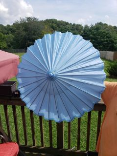 PRETTY BLUE PAPER PARASOL WITH WOOD HANDLE