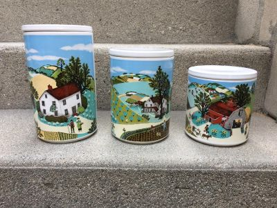 PFALTZGRAFF CANISTERS, COUNTRY SCENE AVON CANISTERS