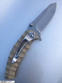 For Sale: Folding knife, G-10, pocket clip, khaki grips, new/unused