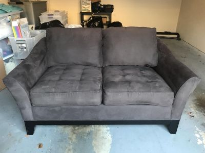 Gray microfiber loveseat couch