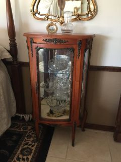 Antique French Wood & Brass China Cabinet
