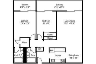 2 bedrooms - Park Towers Apartments in Richton Park.
