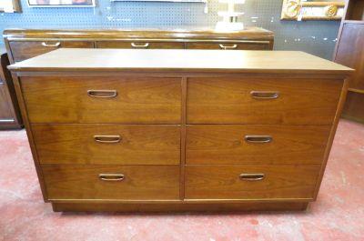 Vintage mid century Walnut Lane 6 drawer credenza